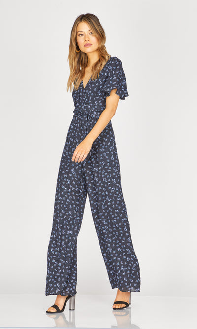 women's short sleeve black floral jumpsuit
