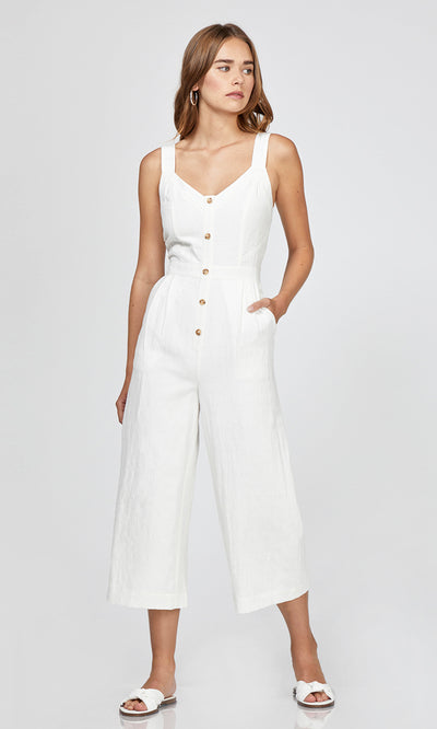 white button up wide leg jumpsuit