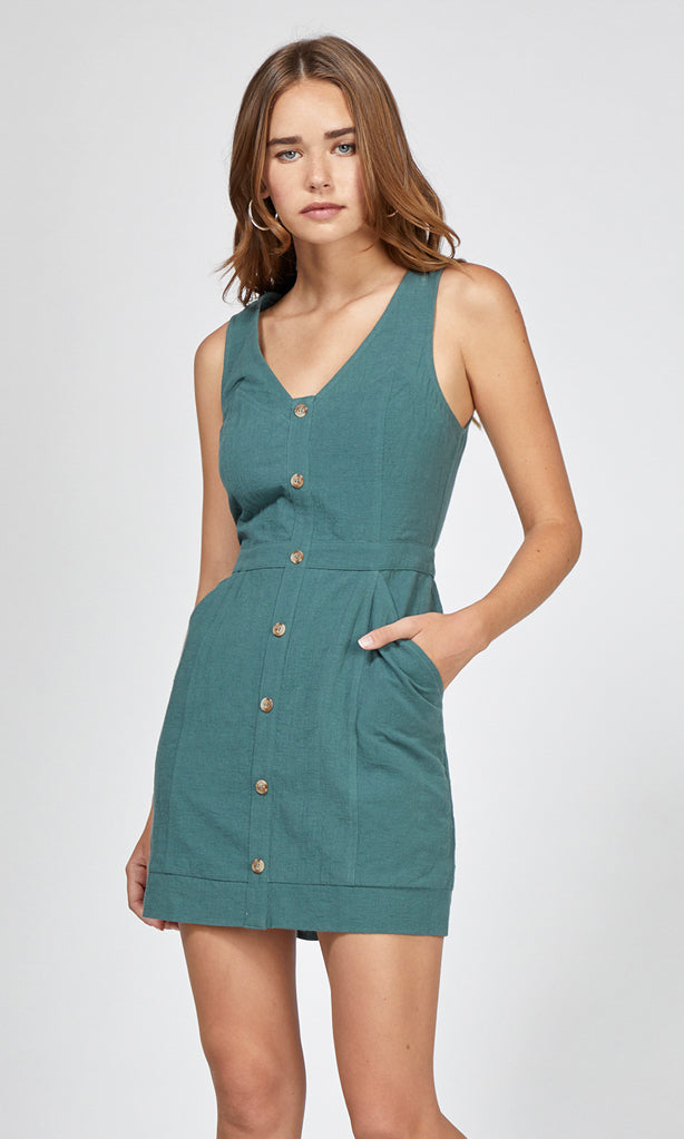sage mini button dress