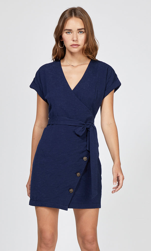 navy half-button wrap dress
