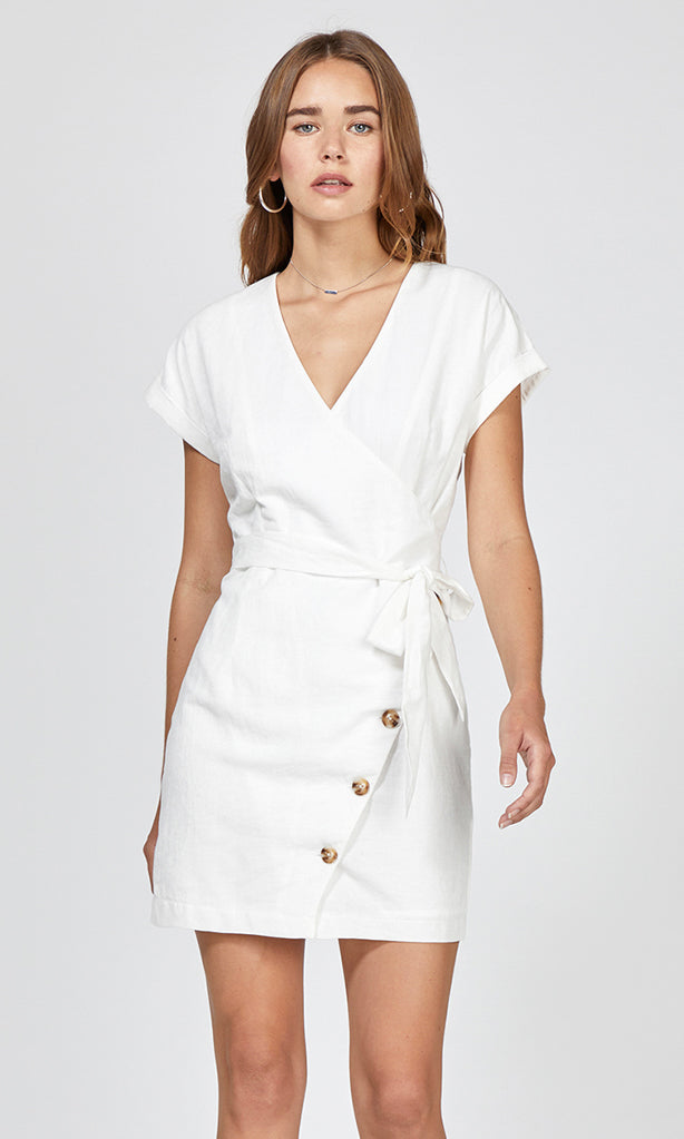 women's white tie waist dress