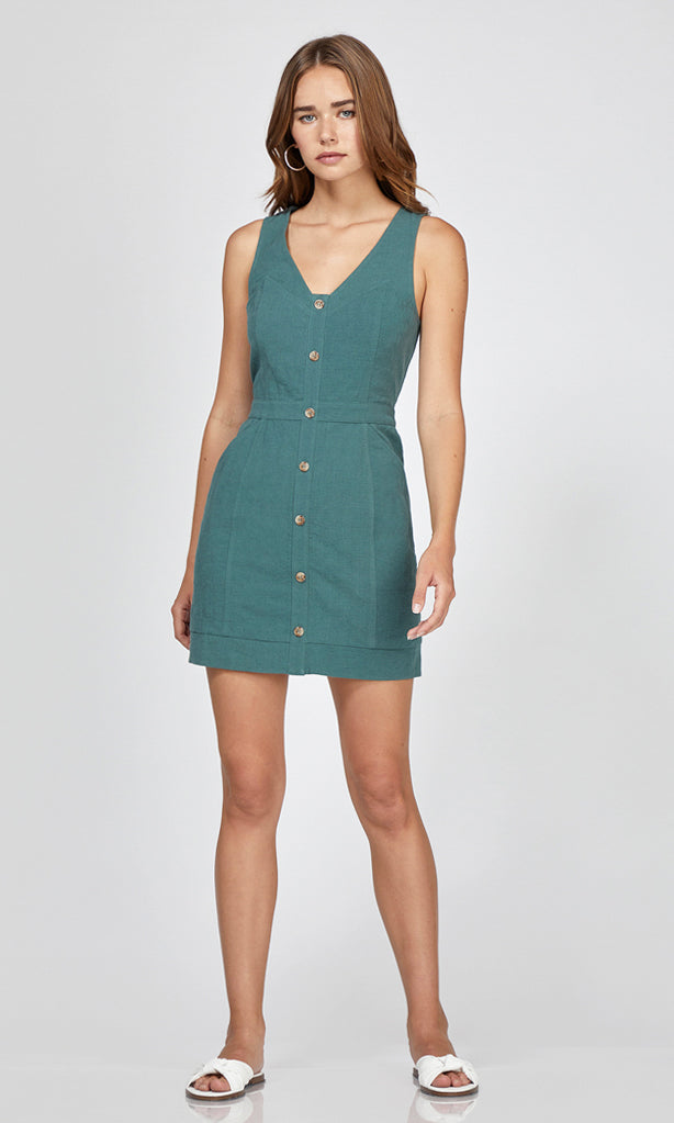 green spring mini button up dress