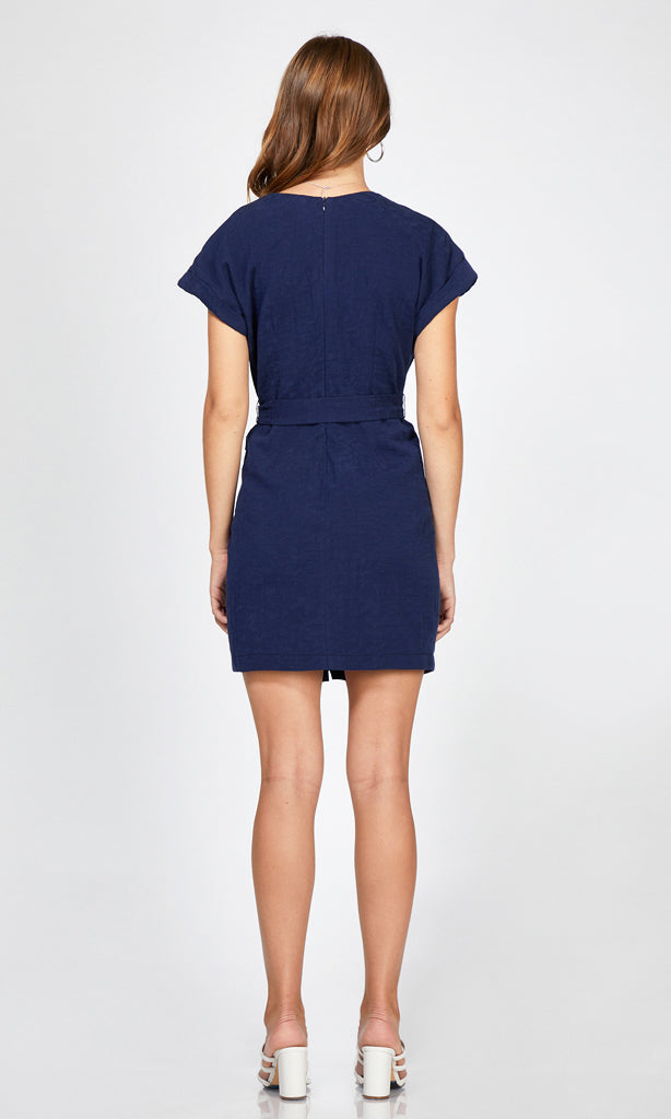women's navy summer button detail wrap tie dress