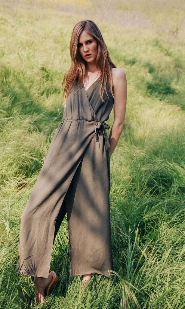 olive green midi wrap jumpsuit