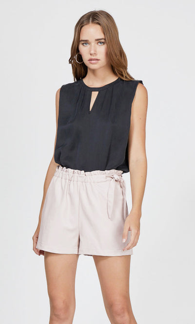black cut-out sleeveless top
