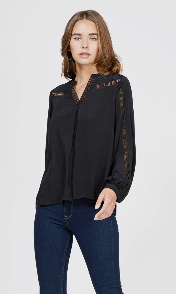 black lace trim split neck blouse
