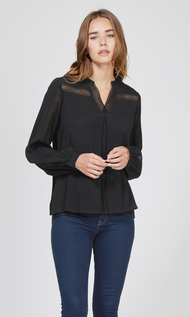 women's black lace trim blouse