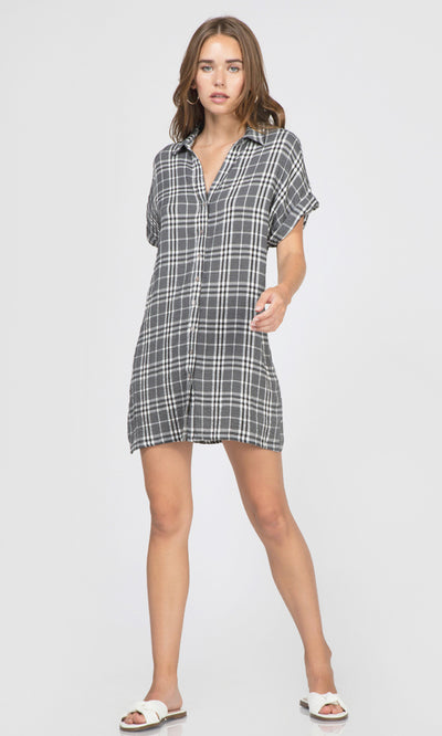 black and white plaid mini dress