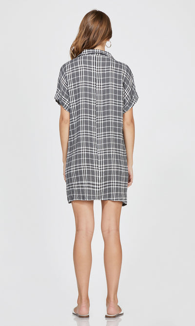 plaid loose fit short sleeve dress