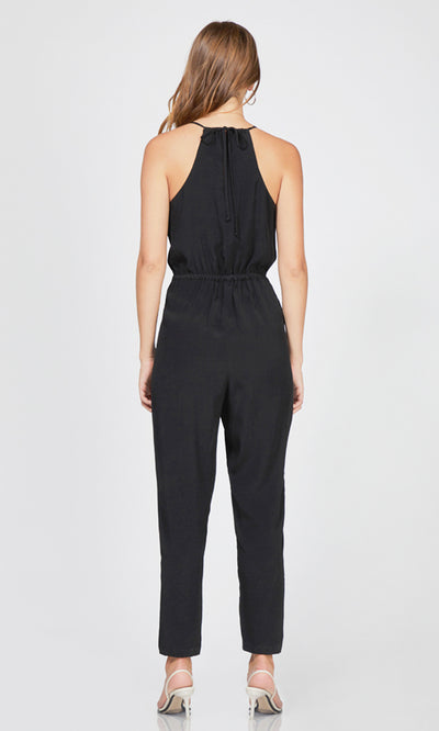 women's black lace trim cami jumpsuit