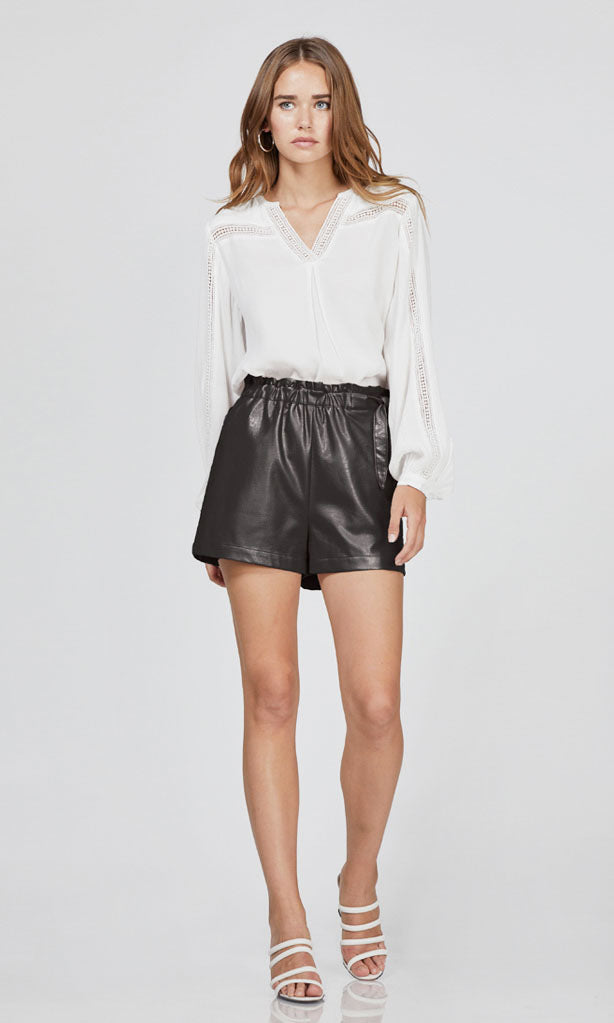 high waist vegan leather shorts