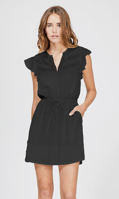 black lace trim tie-waist dress