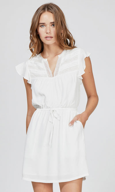 white lace trim tie-waist dress