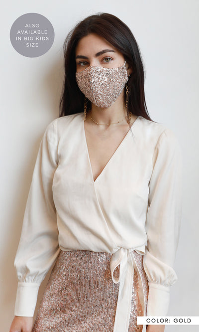 THE ZOE SEQUINS REUSABLE FACE MASK
