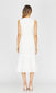 white midi sleeveless dress with tassels