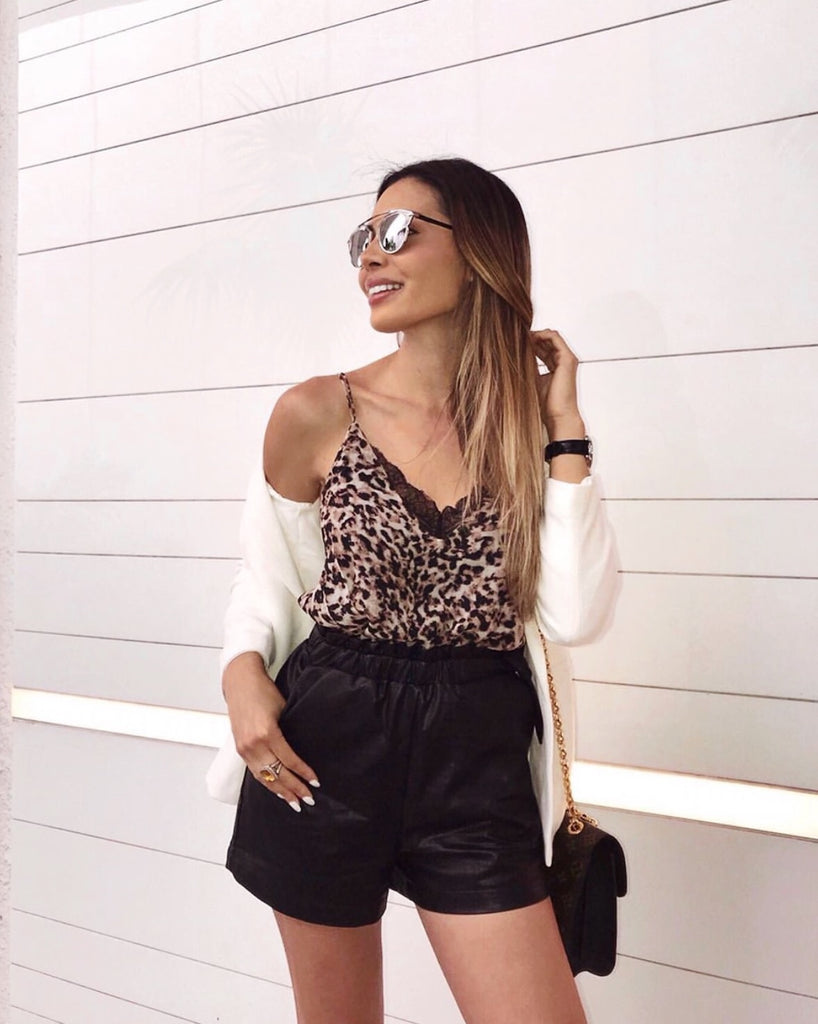 high waist black vegan leather shorts