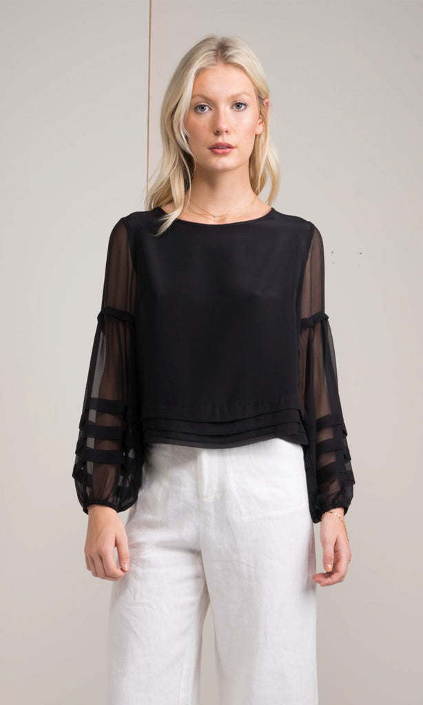 black silk sheer sleeved blouse