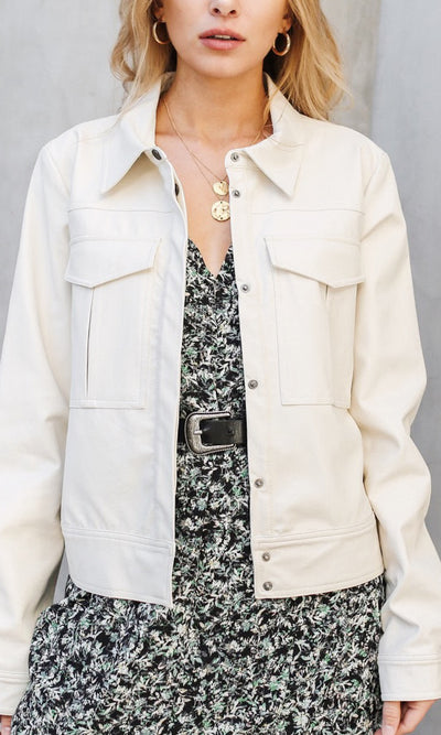 white vegan leather jacket