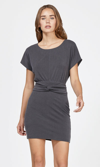 charcoal waist knot modal knit dress