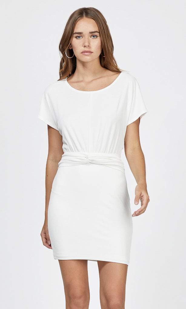 white knot waist short sleeve dress