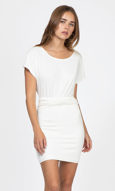 white waist knot modal knit dress