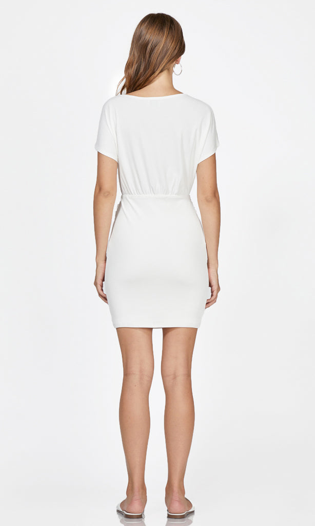 white short sleeve mini dress