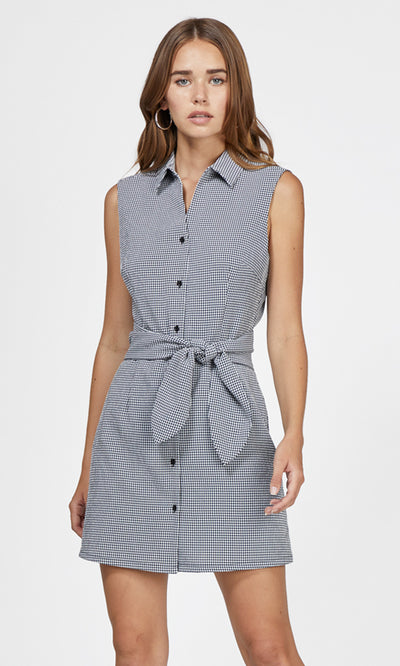 women's navy gingham dress