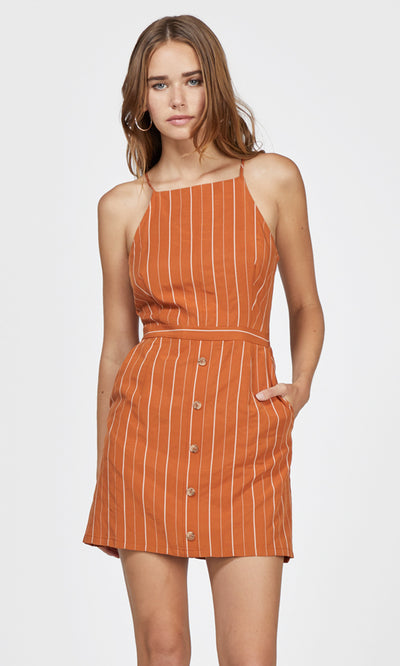 orange pinstripe dress