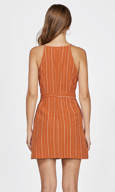 orange pinstripe tank dress