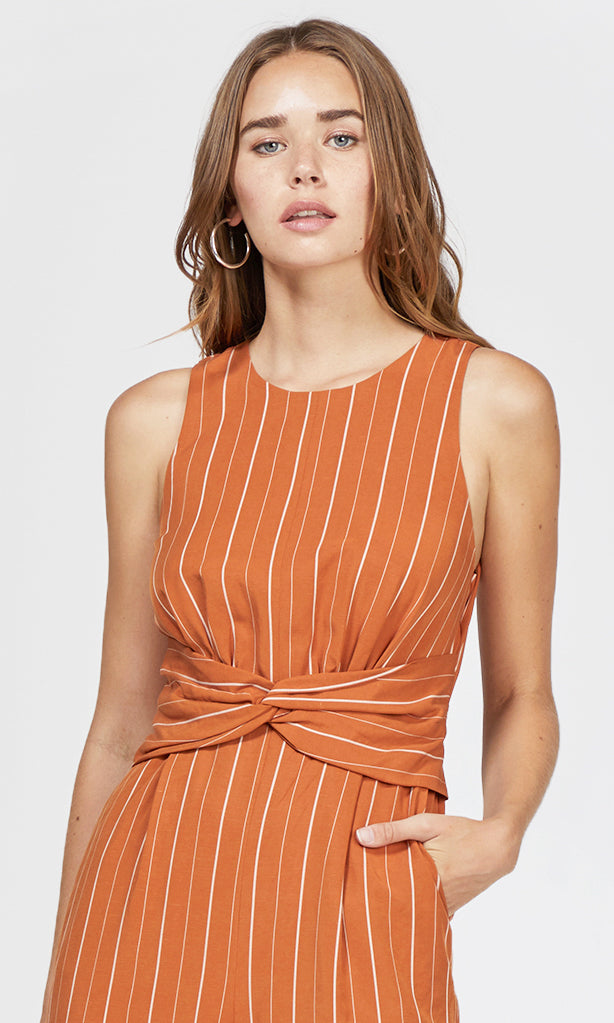 pinstripe orange jumpsuit