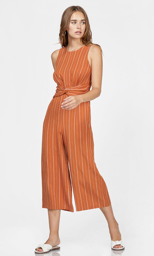 women's orange pinstripe jumpsuit