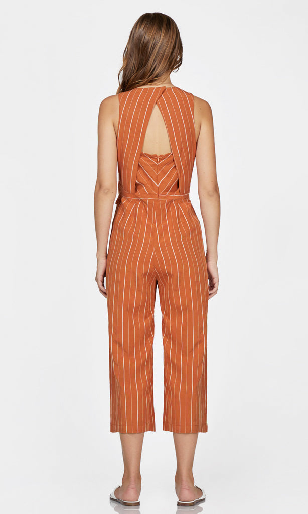 orange sleeveless jumpsuit
