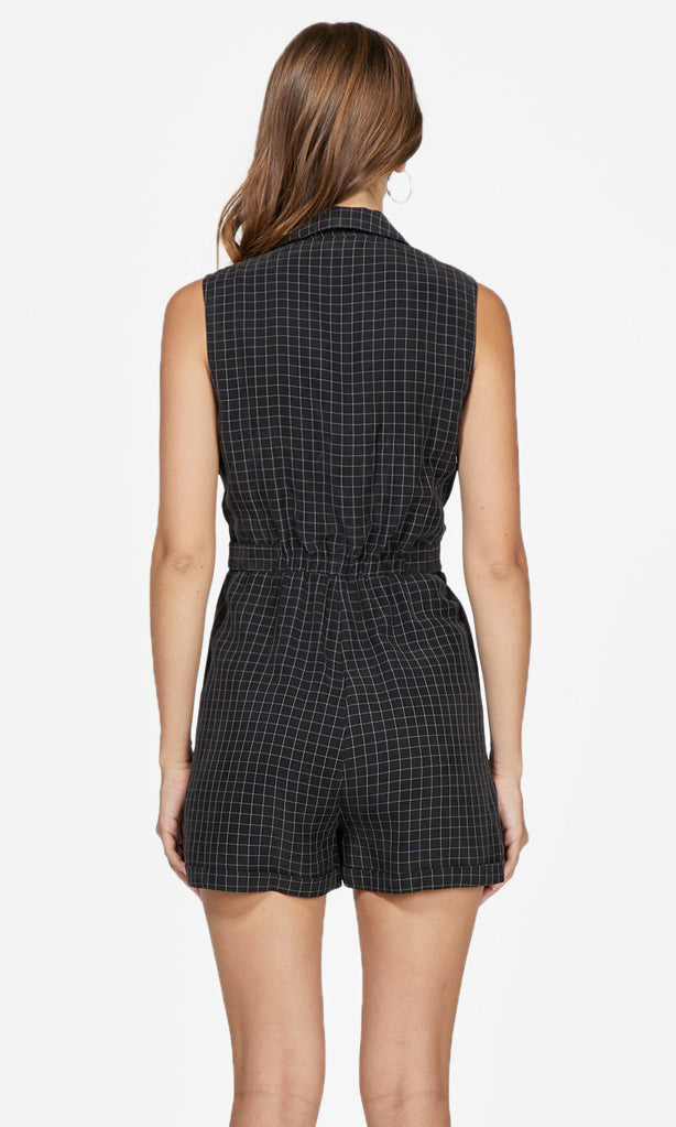 black grid pattern romper