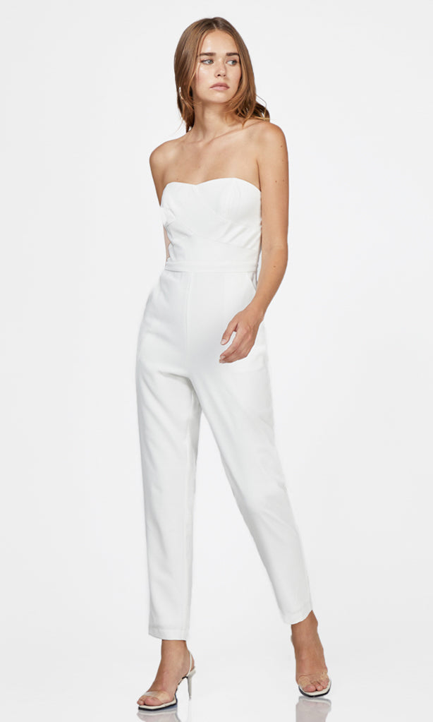 women's white strapless jumpsuit tight leg