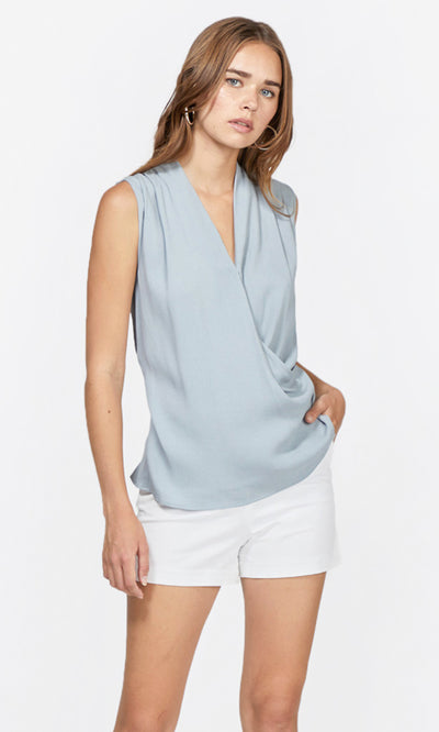 blue wrap top
