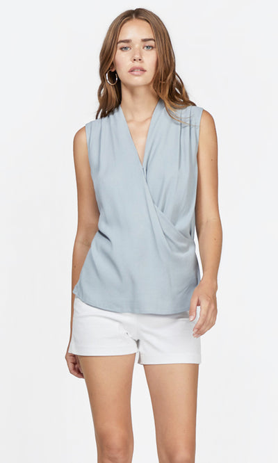 light blue wrap top