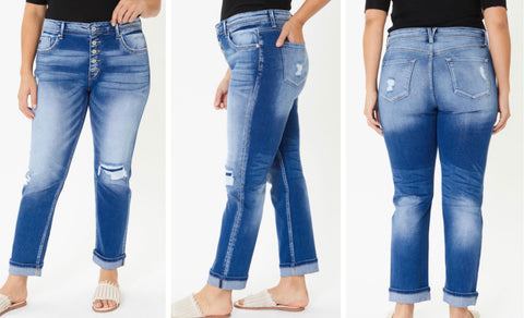 "Curvy KanCan ""Ayla"" High Rise Button Fly Straight Leg Jeans"