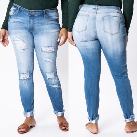 "Curvy KanCan ""Zena"" High Rise Distressed Skinny Jeans"