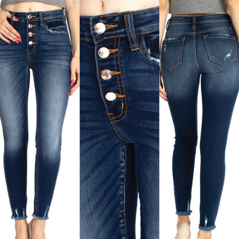 "High Rise Button Fly KanCan Frayed Bottom Skinny Jeans ""Ali"""