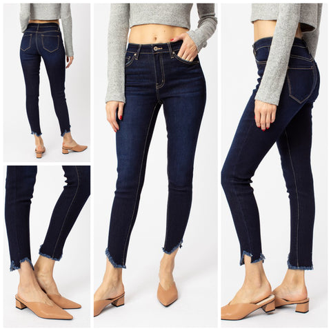 KanCan High Rise Dark Denim Shark Bite Ankle Jeans