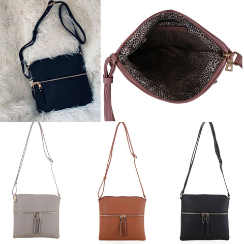 Crossbody in Black, Grey, or Cognac