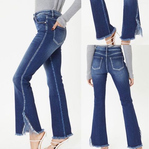 "KanCan ""Sammi"" High Rise Bootcut Jeans with Fray Hem Detail"