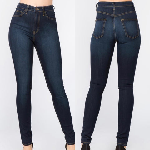 Dark Wash High Waist Jeggings Skinny Jeans