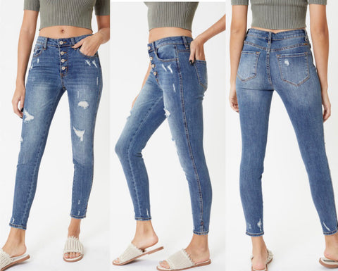 "KanCan ""Dalia"" High Rise Button Fly Skinny Jeans"