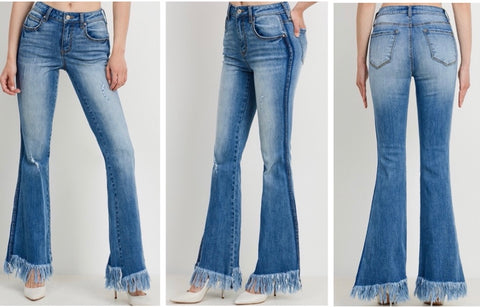 Medium Wash High Rise Flare Jeans with Frayed Bottom