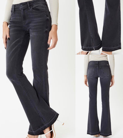 Mid Rise Kancan Black Flare Jeans