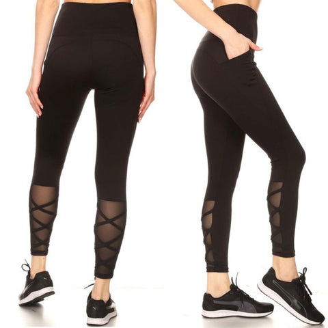 Black Tummy Control Butt Sculpting Pocket Leggings with Mesh Strappy Legs