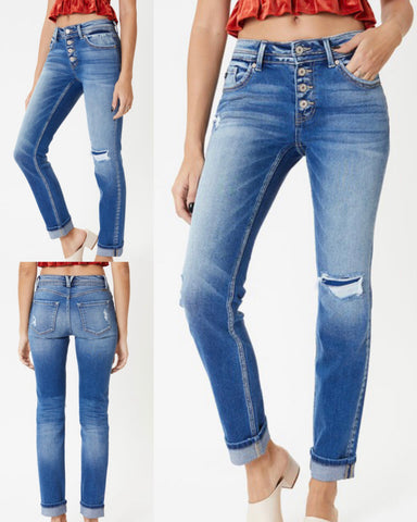 "KanCan ""ALEXIS"" Mid Rise Button Fly Skinny Straight Jeans"