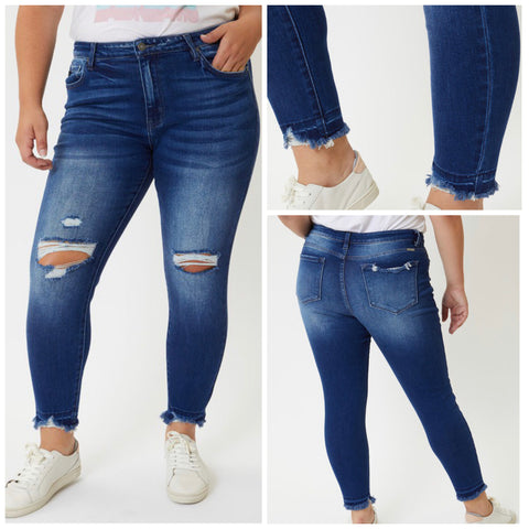 "Curvy KanCan ""Kayla"" High Rise Distressed Jeans"