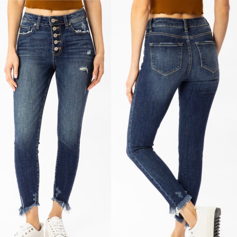 "High Rise Kancan Button Fly Skinny Jeans ""Remi"""